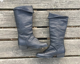 Size 6 Black Leather Tall Midcalf Slouch Boots Women's Vintage Boots