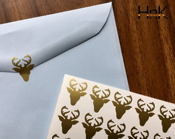 25x / 50x / 75x deer stickers / envelope decals / party decoration / glass decor envelope seals  s002