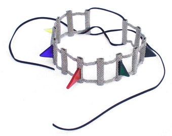 Spike Choker Necklace, Statement Necklace, Rainbow Necklace, Avant Garde Jewelry, Modern Wearable Art Beadwork, Unique Bead Art Jewelry