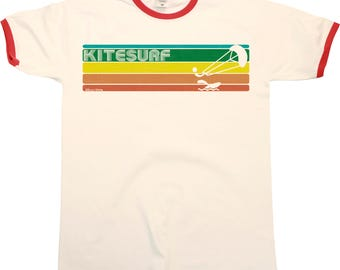 Retro KITESURF Strip Mens RINGER T-Shirt Kitesurfing New