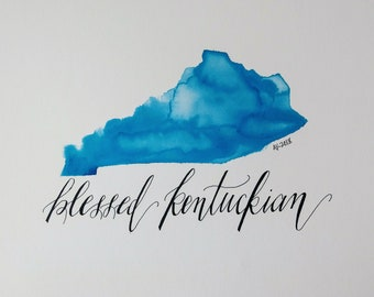 Blessed Kentuckian with solid black lettering