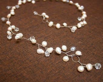 Ready to Ship - Wedding Natural Pearl and Crystals Long Hair Vine River Pearl Hair Vine Silver Pearl Hair Accessories Bridal Pearl Hair Vine
