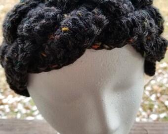 Crochet braided tweed ear warmer