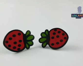 Berry Strawberry- Hand Made Earrings