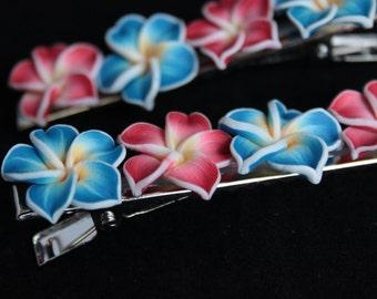 Hairclip, plumeris, flower, rockabilly, hawaii, hawaiian, surf clip, bandana, crocodile clip, fimo, polymer, clay, mermaid tears, flowers