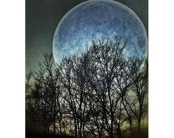 Blue Moon - Visionary Surreal Nature Full Moon Photography, Contemporary, Modern wall art, office, home decor night sky dreamy inspirational