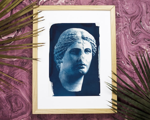 Roman Woman Bust Sculpture, Cyanotype Print, A4 size (Limited Edition)