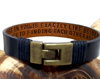 Personalized Hidden Message Leather Bracelet for Him Anniversary Gift for Mens Custom Hand Stamped Engraved Leather Bracelet Graduation Gift