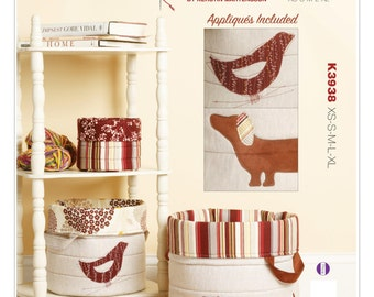 Sewing Pattern for Round Nesting Baskets in Five Sizes, Kwik Sew # 3938, Storage Basket, Home Organizer cloth Baskets