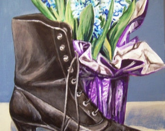 Booted Hyacinth,11x14 acrylic still life