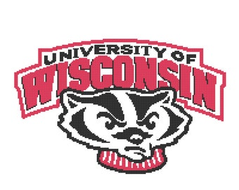 University of Wisconsin Logo -- Counted Cross Stitch Chart Patterns, 2 sizes!