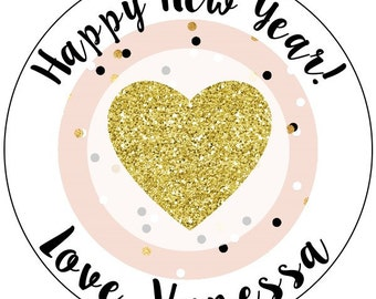 gold and pink new year's party stickers, happy new year party stickers, custom pink and gold confetti party stickers, gold glitter stickers