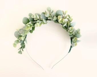 Eucalyptus headband, Flower girl headpiece, Bridal greenery crown, Artificial leaves, Faux eucalyptus head piece, Botanical wedding, Goddess