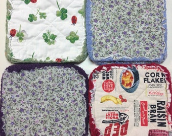 Pair of Rag Quilted Fabric Pot Holders:  Clover, Green Calico, Vintage Cereal Print