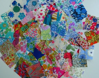 Liberty Lawn fabric squares -  100  1.5 inch Liberty tana lawn squares - Lucky dip selection perfect for postage stamp quilts