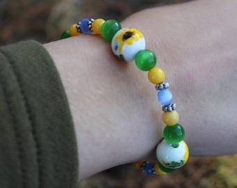 Blue, Green & Yellow Sunflower Bracelet