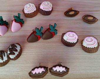 Chocolate Strawberry Truffle  Repurposed Button Stud Earrings - Charm earrings - bonbon earrings - fun girls kids jewelry