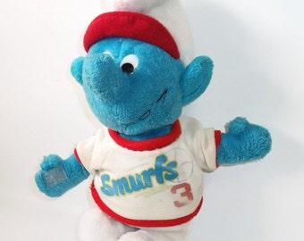 Vintage Smurf Doll Baseball 3 Plush Peyo Smurf Animal Toy