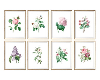 Floral Art Print SET of 8. floral vintage prints, floral wall decor, floral nursery prints, flower art prints, girls room art, girl nursery