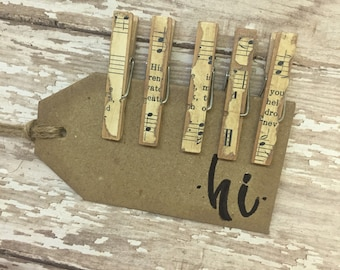 Mini Clothes Pins Vintage Hynmal Decoupaged Clothes Pins Mini Clips Organizational Clips Chip Clips