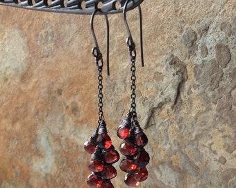 GARNET earrings, red Garnet sterling silver earrings, boho jewelry, cluster earrings, handmade artisan jewelry, January birthstone