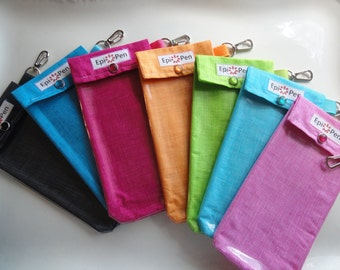 """Epi Style Pen Carrier (1) Clear Pocket Pouch with Clip Duel Allergy Pens - You Choose """"Mini Plaid"""", Fabric Color and Size"""