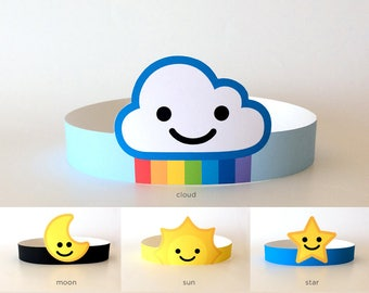 Rainbow Cloud, Sun, Moon, Star, Sky Birthday Party, Baby Shower Supplies/Decorations, Printable Costume Hat/Headband/Crown for Kids/Adults