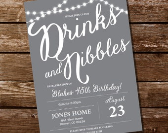 Gray Birthday Party Invitation  - 16th 21st 25th 30th 40th 50th 60th birthday invitation - Instant Download and Edit with Adobe Reader