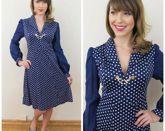 70s does 40s Stephen O'Grady Navy Blue Polka Dot Long Sleeve Fit and Flare Dress, Size Small