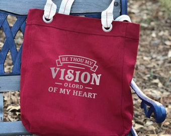Be Thou My Vision canvas school bag red, shoulder canvas bag, tote everyday bag, farmers market bag, inspirational gifts for mom