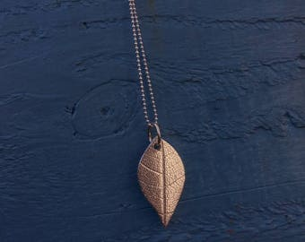 Fine silver leaf pendant on an 18 inch sterling silver chain