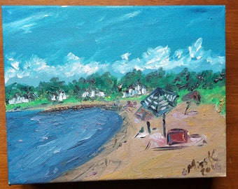 Cape Cod Plein Air gallery wrapped painting from the summer of 2016. Beach babes
