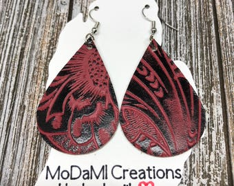 Leather earrings, teardrop, cranberry, black, tooled leather, handmade earrings, nickle free, drop earrings, dangle earrings, lightweight