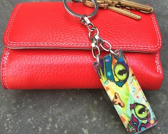 Ragamuffin Cat Keychain, Opens so you can customize your keychain to hold your fortunes, inspirations & dreams