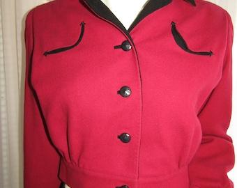 Vintage Ladies Red/Black Wool WAIST JACKET by I. Magnin & Co.