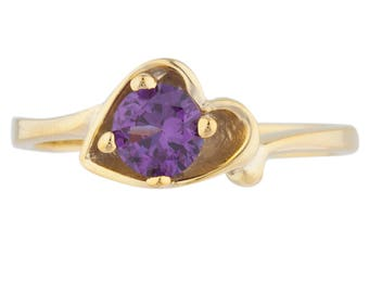 14Kt Yellow Gold Plated Alexandrite Round Heart Shape Ring