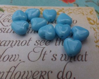 Glass  beads  , heart , valentine , Czech , glass hearts, blue beads