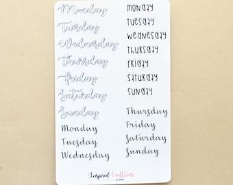 Bullet journal Daily Headers, daily headers, planning sticker, journal sticker, weekly header, bujo sticker