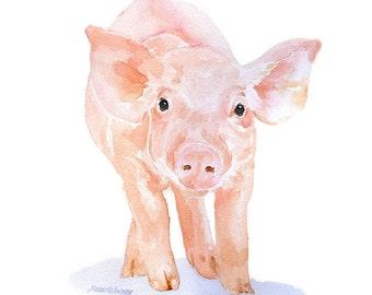 Pig Watercolor Painting - 11 x 14 - Giclee Print - Fine Art Piglet Nursery Art - Farm Animal