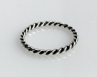 Sterling Silver Rope Ring, Twist Ring, Stacking Ring