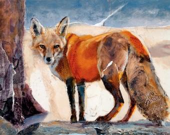 Fox, giclee print, fine art print, oil painting, animal art, red fox, wild animal, fine art giclee print,