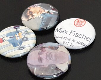 """4 Rushmore 1"""" Buttons/Pinbacks/Pins Wes Anderson Bill Murray Comedy Movies Max Fischer Rare New Jason"""