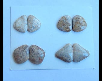 SALE,4 Pairs Indonesian Fossil Coral Gemstone Cabochons,21.1g (Cpa514)