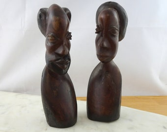 Pair of Vintage African Tribal Art Wooden Figurines, Carved Wood Head / Busts
