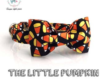 halloween cat and dog collar with detachable bow