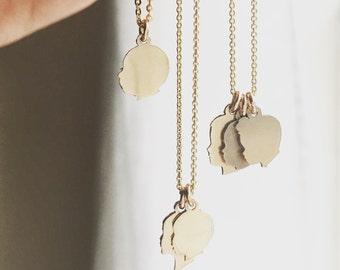 Benutzerdefinierte Silhouette Charms kleine Anhänger Halskette 14K Gold Filled oder Sterling Silber Silhouette Halskette aus Ihren Fotos zierliche Goldhalskette