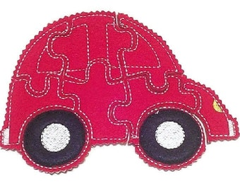 Red car Felt Puzzle game - Perfect for party favors - school treats - busy bags or quiet books -  #P767