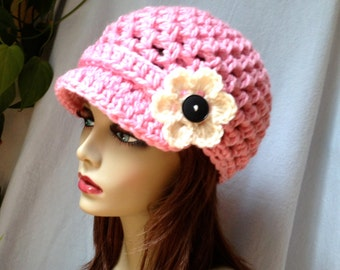 Crochet Womens Hat, Newsboy, PINK, Very Soft Chunky, Flower, Warm. Cancer Hat, Teens, Ski Hat, Birthday Gifts, Gifts for Her, JE475NF2