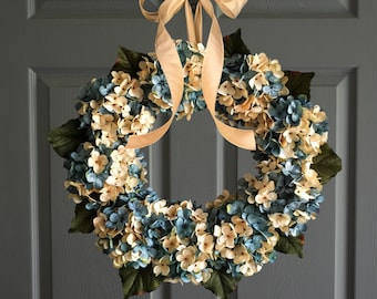 Beautiful Blended Hydrangea Wreath | Front Door Wreaths | Aqua Blue and Cream Hydrangeas | Spring Wreath | Gift for Mom | Lake House Decor