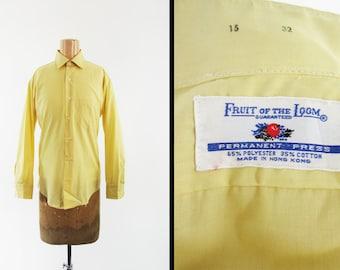 Vintage 70s Fruit of the Loom Shirt Sun Yellow NOS Deadstock Dress Shirt - Medium